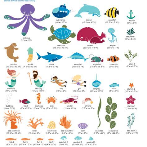 sea theme ocean wall mural stencil kit