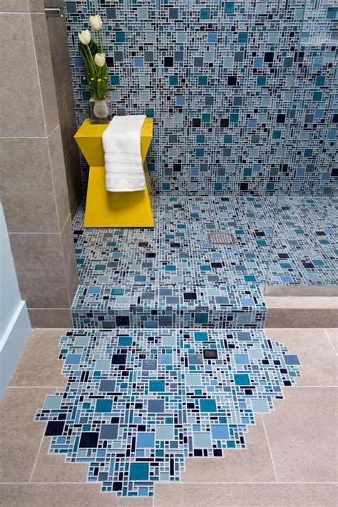 Blue Mosaic Tiles Bathroom by Blue Glass Mosaic Tile With Puddling Effect On Floor
