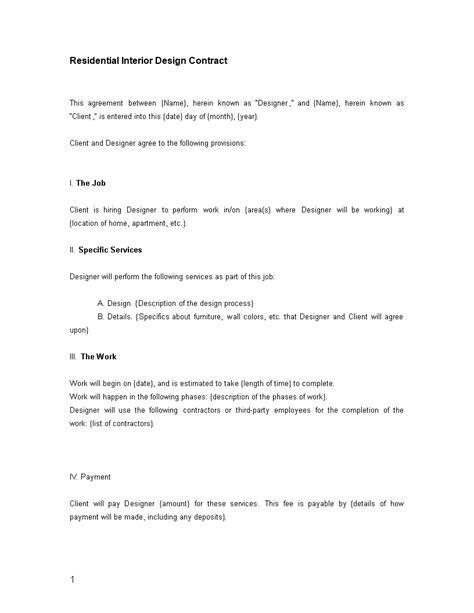 residential interior designer contract template