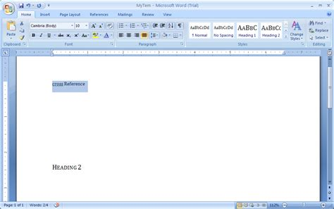 Microsoft Office Word 2007 create a cross reference cross reference 171 documentation