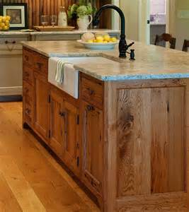 wood island kitchen substantial wood kitchen island with apron sink single handle rubbed bronze faucet