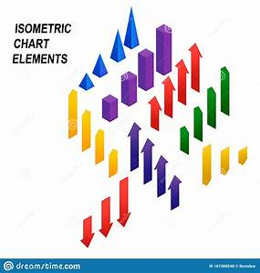 Diagram Bar Graph Chart Isometric Elements Stock Vector