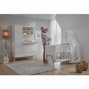 Chambre Enfant Blanc : schardt set pour chambre d 39 enfant holly nature avec lit volutif commode langer et armoire ~ Teatrodelosmanantiales.com Idées de Décoration