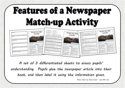 features of a newspaper match up activity by mrs bee