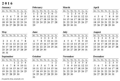 2016 calendar template free printable calendars 2016 print blank calendars