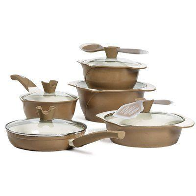 ceramic nonstick cast aluminum  piece cookware set details     clicking