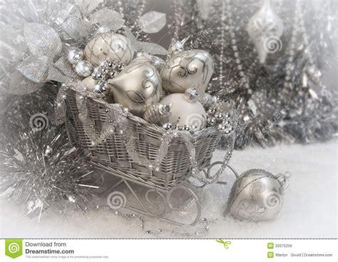 silver christmas sleigh stock photo image  sleigh