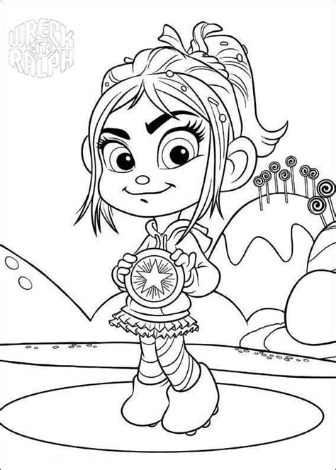 Petunia Kleurplaat by Wreck It Ralph Coloring Pages Vanellope Got A Medal Free