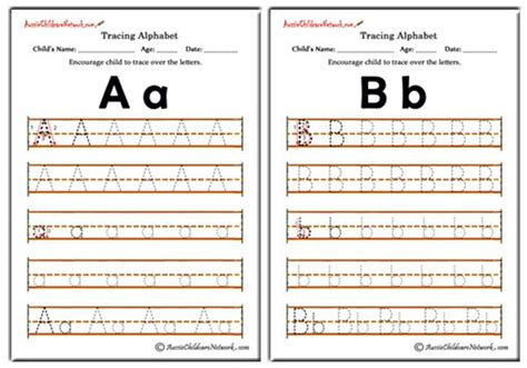 tracing alphabet worksheets aussie childcare network