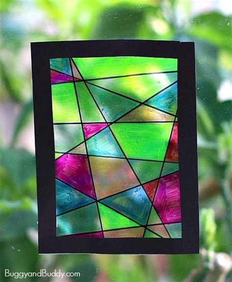 faux stained glass suncatcher craft  kids crafting