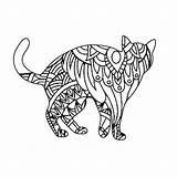 Cat Mandala Coloring Patterns Animal Pages Mandalas sketch template