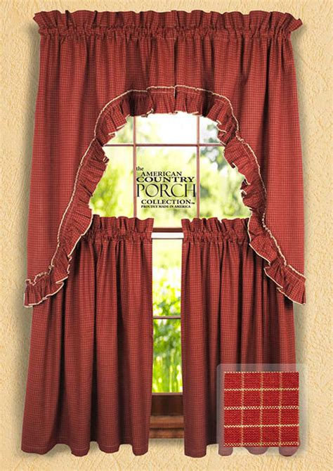 wine small window pane ruffled window curtain swags