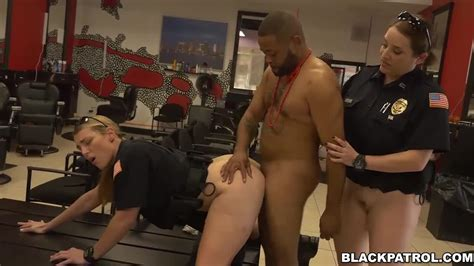 kinky police officers take advantage of a suspect in interracial threesome porndoe