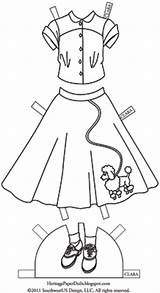 1950s Poodle Paper Coloring Skirts Dolls Doll 1950 Clara Template sketch template