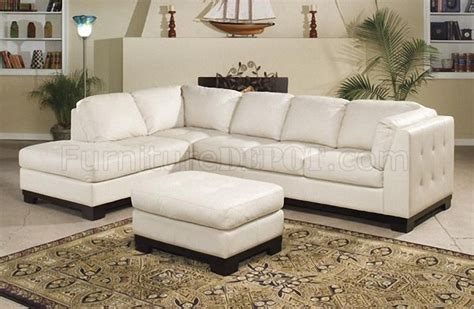 9958iv Tufton Sectional Sofa In Ivory Full Leather By
