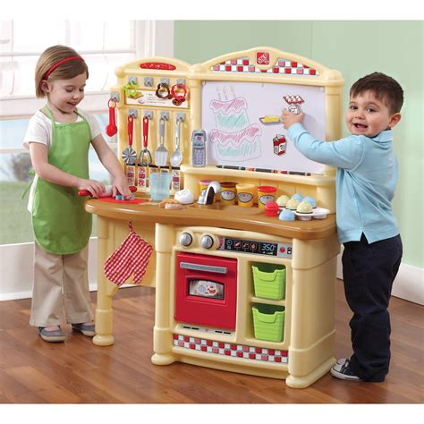 step2 lifestyle kitchen with green countertop lifestyle deluxe kitchen play kitchen step2 9790