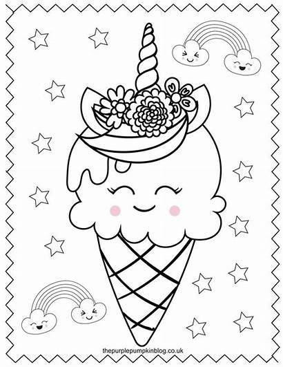 Unicorn Coloring Pages Printable Colouring Ice Cream