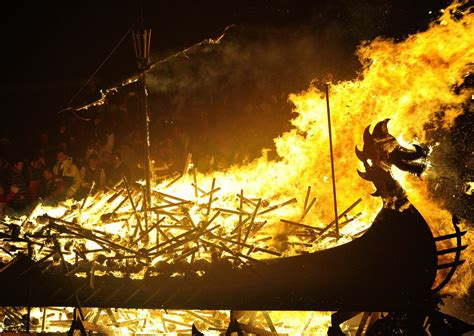 Viking Longboat Burning by Viking Culture Celebrated With The Up Helly Aa Festival