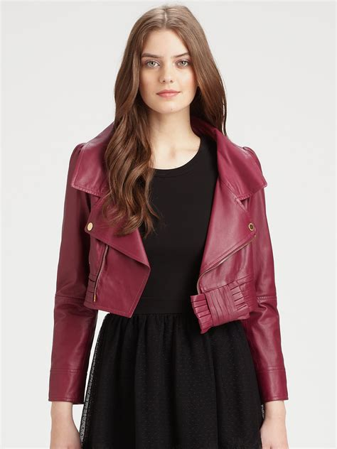 red valentino cropped leather jacket  red lyst