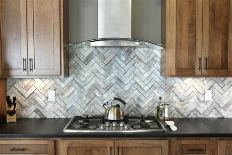 Peel N Stick Tile Backsplash : Timeless Herringbone Pattern In Home Décor