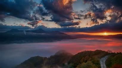 Horizon Dawn Mountains Background Sunlight Wallpapers 4k