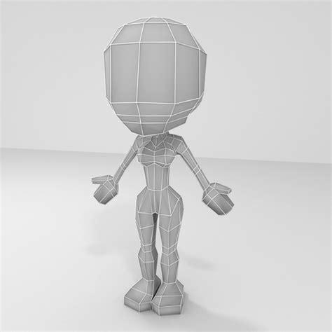 model female cartoon  poly character base mesh vr