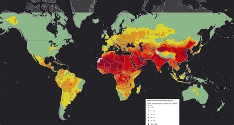 la pollution est une fatalite du monde moderne monde pollution aux particules fines 2016 carte populationdata net