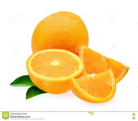 Fresh Orange Fruit With Leaf Isolated White Background
