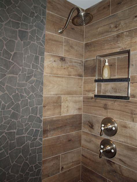 wood tile shower wood look tile on walls normandy remodeling
