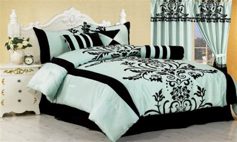 aqua blue bedroom cute black and white comforters black
