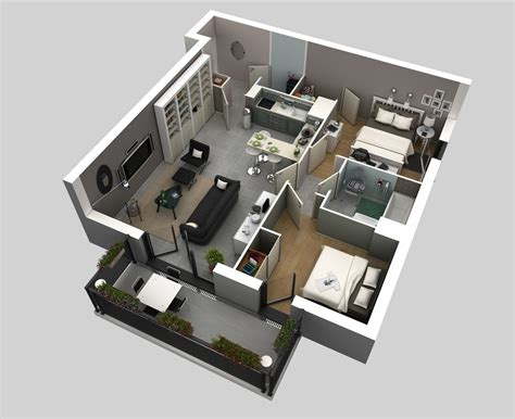 50 3d Floor Plans, Lay-out Designs For 2 Bedroom House Or
