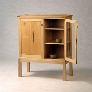 Hand Made Maple On Maple Half-Glass Liquor Cabinet by Down