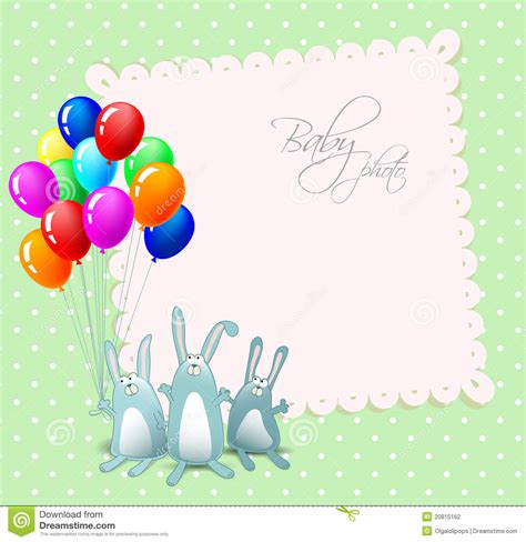 vector happy birthday card  rabbits stock photography