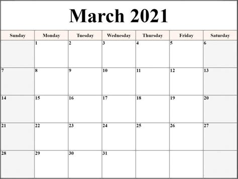 Monthly March 2021 Calendar Template   Free Printable ...
