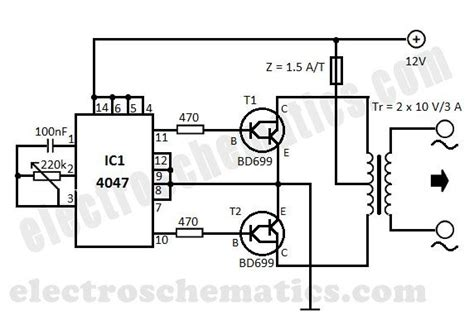 220v Schematic Wiring Diagram by Diy 12v To 220v Dc To Ac Converter Built With Cmos 4047