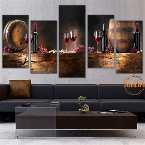 poster mural pour cuisine 5 panel wall fruit grape wine glass picture for kitchen bar wall decor canvas prints