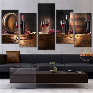 5 Panel Wall Art Fruit Grape Red Wine Glass Picture Art