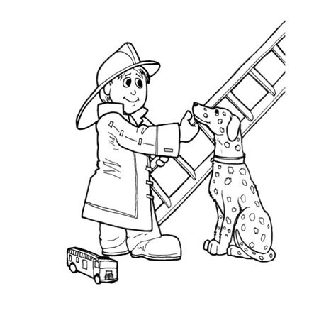 fireman fire dog  ladder coloring page print color