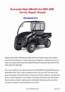 Kawasaki Mule 600-610 4x4 2005-2009 Service Repair Manual By Hong Lii