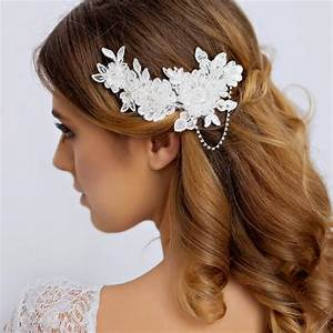 Lace Bridal Hair Piece With Rhinestone Lace Wedding Hair