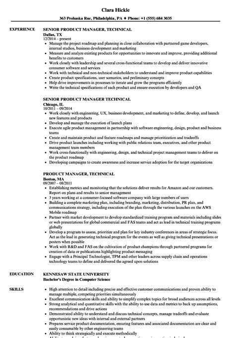 Technical Product Manager Resume by Product Manager Technical Resume Sles Velvet