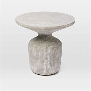 tambor concrete outdoor drum side table west elm With concrete drum coffee table