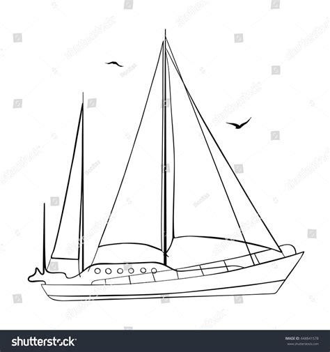 Sailboat Outline Vector Free by Contour Sailboat Made Vector Isolated On Stock Vector
