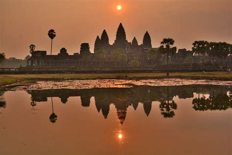 Sunrise At Angkor Wat In Seam Reap Cambodia Globe