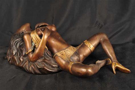 Naked Bronze Porno Girl Figurine Erotic Art Figurine