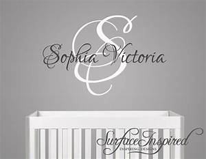nursery wall decals sophia victoria name wall decal for With custom made wall decals ideas