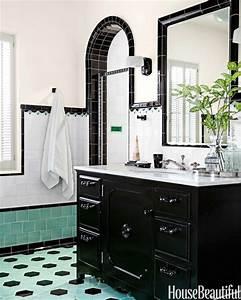 Green and Black Retro Bathroom - Interiors By Color