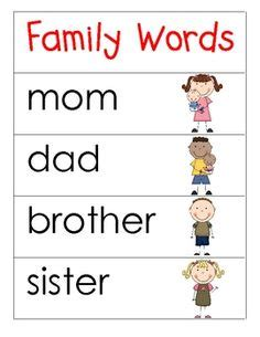 family themed word cards  word walls  english