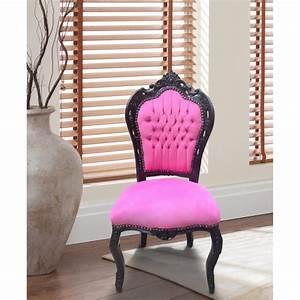 Chaise Style Baroque : chaise de style baroque rococo tissu velours rose et bois laqu noir ~ Teatrodelosmanantiales.com Idées de Décoration