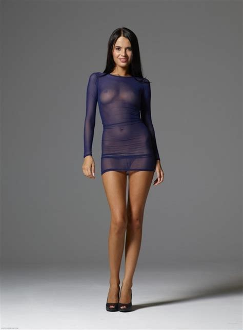 See Through Dress Model Ileana With A Bathing Suit Or
